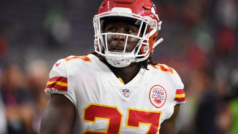 <p>               FILE - In this Oct. 8, 2017, file photo, Kansas City Chiefs running back Kareem Hunt warms up for the team's NFL football game against the Houston Texans in Houston.  The Chiefs released Hunt on Friday, Nov. 30, 2018,  after video surfaced that showed the NFL's reigning rushing champion knocking over and kicking a woman in a Cleveland hotel hallway in February.  (AP Photo/Eric Christian Smith, File)             </p>