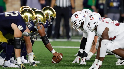 <p>               FILE - In this Saturday, Sept. 29, 2018 file photo, Notre Dame and Stanford face off during the first half of an NCAA college football game in South Bend, Ind. Notre Dame's offensive line is preparing for its biggest challenge of the season. The Fighting Irish will face Clemson in a playoff semifinal at the Cotton Bowl on Dec. 29. The Tigers have one of the best defensive lines in the country and the No. 2 defense overall. Notre Dame defensive line coach Jeff Quinn says his players know what they are up against, but are confident as they get their game plan together.(AP Photo/Carlos Osorio, File)             </p>