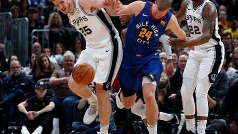 <p>               San Antonio Spurs center Jakob Poeltl, left, fights for control of a loose ball with Denver Nuggets forward Mason Plumlee in the first half of an NBA basketball game Friday, Dec. 28, 2018, in Denver. (AP Photo/David Zalubowski)             </p>