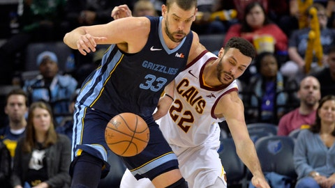 <p>               Memphis Grizzlies center Marc Gasol (33) and Cleveland Cavaliers forward Larry Nance Jr. (22) struggle for control of the ball during the second half of an NBA basketball game Wednesday, Dec. 26, 2018, in Memphis, Tenn. (AP Photo/Brandon Dill)             </p>