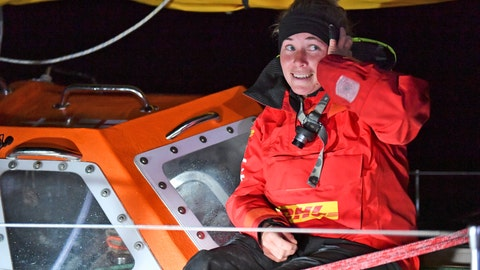 <p>               British yachtswoman Susie Goodall sailing her Rustler 36 yacht DHL STARLIGHT on arrival at Hobart, Australia, Oct. 30, 2018, arriving in 4th place in the 2018 Golden Globe Race.  British woman Goodall sailing solo in the Golden Globe Race round-the-world has lost her mast and was knocked unconscious in a vicious storm, and Thursday Dec. 6, 2018, rescuers are trying to reach her in the Southern Ocean, 2,000 miles west of Cape Horn near the southern tip of South America. (Christophe Favreau/PPL Photo Agency, Golden Globe Race via AP)             </p>