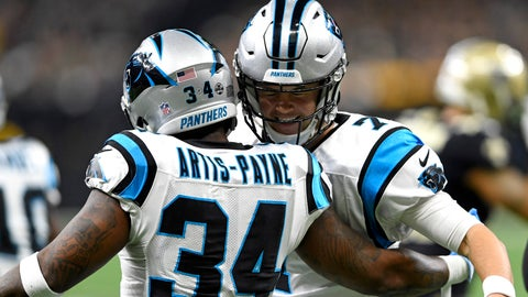 <p>               Carolina Panthers running back Cameron Artis-Payne (34) celebrates his touchdown carry with quarterback Kyle Allen (7) in the first half of an NFL football game against the New Orleans Saints in New Orleans, Sunday, Dec. 30, 2018. (AP Photo/Bill Feig)             </p>