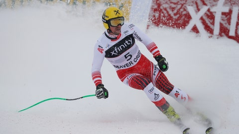 <p>               Austria's Max Franz reacts after finishing a Men's World Cup super-G skiing race Saturday, Dec. 1, 2018, in Beaver Creek, Colo. (AP Photo/John Locher)             </p>