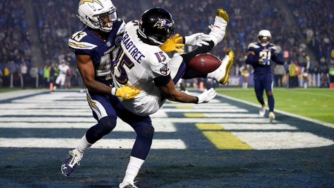 <p>               Los Angeles Chargers cornerback Michael Davis breaks up a pass intended for Baltimore Ravens wide receiver Michael Crabtree during the first half in an NFL football game Saturday, Dec. 22, 2018, in Carson, Calif. (AP Photo/Kelvin Kuo)             </p>
