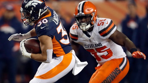 <p>               Denver Broncos running back Phillip Lindsay (30) tries to elude Cleveland Browns outside linebacker Genard Avery (55) during the first half of an NFL football game, Saturday, Dec. 15, 2018, in Denver. (AP Photo/David Zalubowski)             </p>