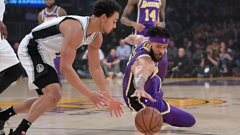 <p>               San Antonio Spurs guard Bryn Forbes, left, and Los Angeles Lakers center JaVale McGee go after a loose ball during the first half of an NBA basketball game, Wednesday, Dec. 5, 2018, in Los Angeles. (AP Photo/Mark J. Terrill)             </p>