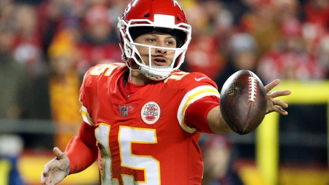 <p>               FILE - In this Dec. 13, 2018 file photo Kansas City Chiefs quarterback Patrick Mahomes (15) flips the ball during the first half of an NFL football game against the Los Angeles Chargers in Kansas City, Mo. Mahomes is one of 29 first-time Pro Bowlers expected to play the game on  Jan. 27 in Orlando. (AP Photo/Charlie Riedel, file)             </p>