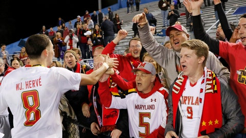 <p>               University of Maryland's William James Herve celebrates with fans after defeating Akron 1-0 to win its fourth NCAA college soccer title in Santa Barbara, Calif., Sunday, Dec. 9, 2018. (AP Photo/Daniel Dreifuss)             </p>