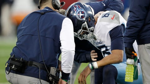 <p>               Tennessee Titans quarterback Marcus Mariota (8) is attended to after being injured in the first half of an NFL football game against the Washington Redskins Saturday, Dec. 22, 2018, in Nashville, Tenn. (AP Photo/James Kenney)             </p>