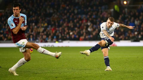 <p>               Everton's Lucas Digne scores his side's fourth goal of the game, during the English Premier League soccer match between Burnley and Everton at Turf Moor, in Burnley, England, Wednesday, Dec. 26, 2018. (Dave Thompson/ PA via AP)             </p>