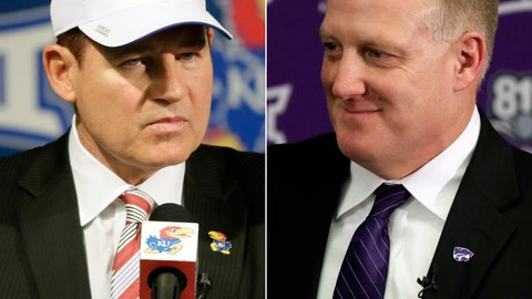<p>               FILE - At left, in a Nov. 18, 2018, file photo, University of Kansas new football coach Les Miles makes a statement during a news conference in Lawrence, Kan. At right, in a Dec. 12, 2018, file photo, Chris Klieman is introduced as the 35th Kansas State NCAA college football head coach, in Manhattan, Kan.  Kansas and Kansas State both have new head coaches, and as Les Miles and Chris Klieman put the finishing touches on whirlwind recruiting classes, it is already clear that they will be butting heads for top recruits. (AP Photo/Orlin Wagner, File)             </p>