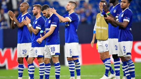 <p>               In this picture taken Nov.24, 2018 Schalke players acknowledge the fans after the Champions League group D soccer match between FC Schalke 04 and FC Porto at the Arena Auf Schalke in Gelsenkirchen, Germany. (AP Photo/Martin Meissner)             </p>