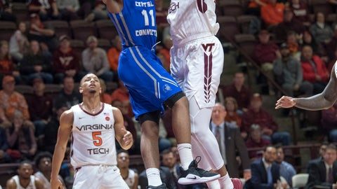 <p>               Central Connecticut State guard Thai Segwai (11) goes up for a basket against Virginia Tech forward Kerry Blackshear Jr. (24) during the first half of an NCAA college basketball game Saturday, Dec. 1, 2018, in Blacksburg, Va. (AP Photo/Don Petersen)             </p>