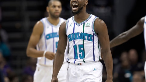 <p>               Charlotte Hornets' Kemba Walker (15) celebrates after making a basket against the Brooklyn Nets during the first half of an NBA basketball game in Charlotte, N.C., Friday, Dec. 28, 2018. (AP Photo/Chuck Burton)             </p>