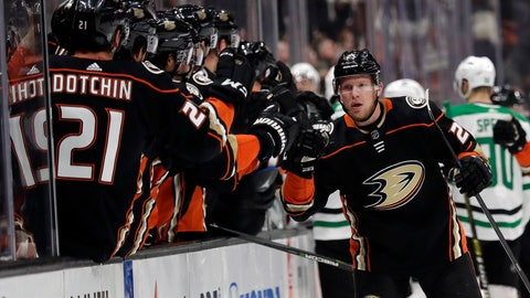 <p>               Anaheim Ducks' Ondrej Kase, right, celebrates his goal with teammates during the first period of an NHL hockey game against the Dallas Stars, Wednesday, Dec. 12, 2018, in Anaheim, Calif. (AP Photo/Marcio Jose Sanchez)             </p>