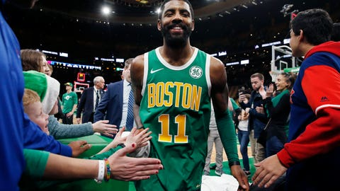 <p>               Boston Celtics' Kyrie Irving walks off the court after the Celtics defeated the Philadelphia 76ers 121-114  in overtime during an NBA basketball game in Boston, Tuesday, Dec. 25, 2018. (AP Photo/Michael Dwyer)             </p>