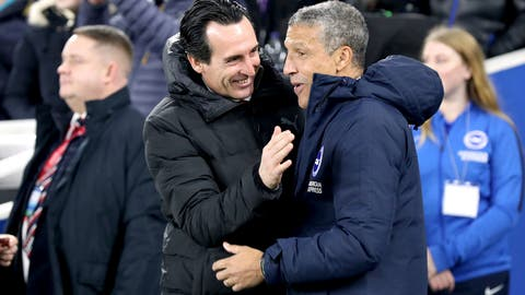 <p>               Arsenal manager Unai Emery, left, and Brighton & Hove Albion manager Chris Hughton prior to their English Premier League soccer match at the AMEX Stadium, Brighton, Wednesday Dec. 26, 2018. (Gareth Fuller/PA via AP)             </p>