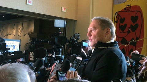 <p>               Baseball agent Scott Boras speaks to the media during the Major League Baseball winter meetings in Las Vegas, Wednesday, Dec. 12, 2018.  Boras represents star free agent Bryce Harper and many other big names in the game. (AP Photo/Janie McCauley)             </p>