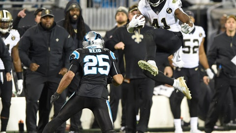 <p>               New Orleans Saints' Alvin Kamara (41) tries to jump over Carolina Panthers' Eric Reid (25) in the second half of an NFL football game in Charlotte, N.C., Monday, Dec. 17, 2018. (AP Photo/Mike McCarn)             </p>