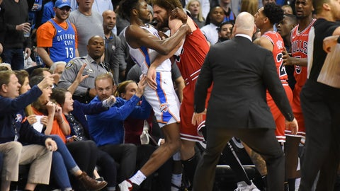 <p>               Oklahoma City Thunder forward Jerami Grant, center left, scuffles with Chicago Bull center Robin Lopez, center right, in the second half of an NBA basketball game in Oklahoma City, Monday, Dec. 17, 2018. (AP Photo/Kyle Phillips)             </p>