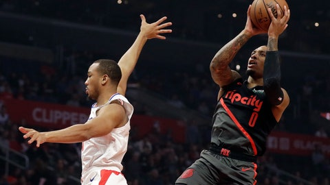 <p>               Portland Trail Blazers' Damian Lillard (0) shoots over Los Angeles Clippers' Avery Bradley during the first half of an NBA basketball game Monday, Dec. 17, 2018, in Los Angeles. (AP Photo/Marcio Jose Sanchez)             </p>