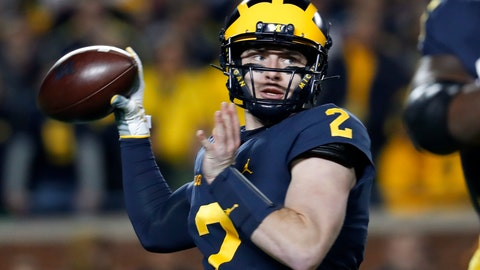 <p>               FILE - In this Saturday, Oct. 13, 2018 file photo, Michigan quarterback Shea Patterson throws during the first half of the team's NCAA football game against Wisconsin in Ann Arbor, Mich. No. 4 Michigan (10-1, 8-0, No. 4 CFP) likely will make its first trip to the College Football Playoff by beating Ohio State and then taking care of Northwestern in the Big Ten Championship.(AP Photo/Paul Sancya, File)             </p>
