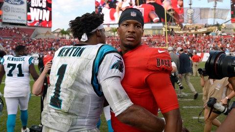 <p>               Tampa Bay Buccaneers quarterback Jameis Winston (3) hugs Carolina Panthers quarterback Cam Newton (1) after the Buccaneers defeated the Carolina Panthers 24-17 during an NFL football game Sunday, Dec. 2, 2018, in Tampa, Fla. (AP Photo/Jason Behnken)             </p>