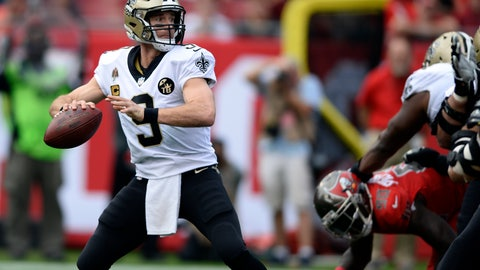 <p>               New Orleans Saints quarterback Drew Brees (9) throws a pass against the Tampa Bay Buccaneers during the first half of an NFL football game Sunday, Dec. 9, 2018, in Tampa, Fla. (AP Photo/Jason Behnken)             </p>