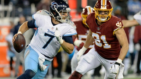 <p>               Tennessee Titans quarterback Blaine Gabbert (7) is pressured by Washington Redskins outside linebacker Ryan Kerrigan (91) in the second half of an NFL football game Saturday, Dec. 22, 2018, in Nashville, Tenn. (AP Photo/Mark Zaleski)             </p>