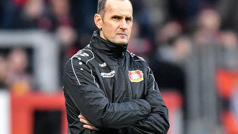 <p>               Leverkusen's coach Heiko Herrlich attends the German Bundesliga soccer match between Bayer Leverkusen and Hertha BSC Berlin in Leverkusen, Germany, Saturday, Dec. 22, 2018. Herrlich was dismissed on Sunday and will be replaced by Dutch coach Peter Bosz. (AP Photo/Martin Meissner)             </p>