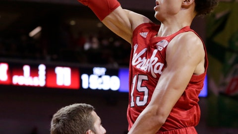 <p>               Nebraska's Isaiah Roby (15) goes for a layup over Creighton's MitchBallock (24) during the first half of an NCAA college basketball game in Lincoln, Neb., Saturday, Dec. 8, 2018. (AP Photo/Nati Harnik)             </p>