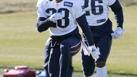 <p>               New England Patriots running backs James White, left, and Sony Michel, right, warm up during an NFL football practice, Wednesday, Dec. 19, 2018, in Foxborough, Mass. (AP Photo/Steven Senne)             </p>