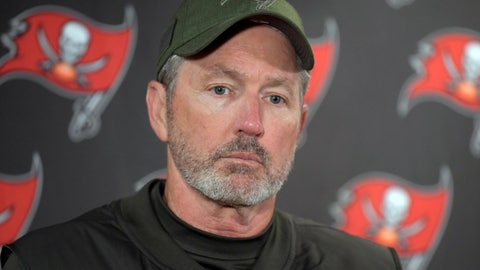 <p>               FILE - In this Sunday, Nov. 18, 2018 file photo, Tampa Bay Buccaneers head coach Dirk Koetter talks to reporters after an NFL football game against the New York Giants in East Rutherford, N.J.  Dirk Koetter has been fired as coach of the Tampa Bay Buccaneers. The team made the announcement Sunday night, Dec. 30, 2018 a little more than three hours after the Bucs concluded a disappointing season with a 34-32 loss to the Atlanta Falcons. (AP Photo/Bill Kostroun, File)             </p>