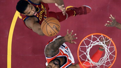 <p>               Cleveland Cavaliers' Tristan Thompson shoots over Washington Wizards' John Wall during the first half of an NBA basketball game Saturday, Dec. 8, 2018, in Cleveland. (AP Photo/Tony Dejak)             </p>