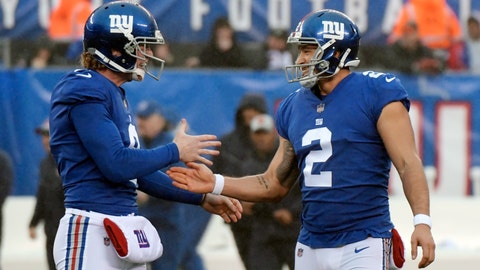 <p>               FILE - In this Dec. 2, 2018, file photo, New York Giants kicker Aldrick Rosas (2) is congratulated by Riley Dixon (9) after kicking a field goal against the Chicago Bears during the first half of an NFL football game in East Rutherford, N.J. Rosas on Tuesday, Dec. 18, 2018, was named to the NFC Pro Bowl team. (AP Photo/Bill Kostroun, File)             </p>