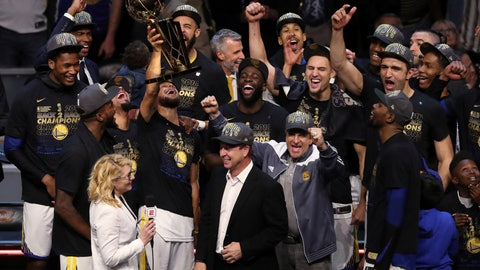 <p>               FILE - In this Friday, June 8, 2018, file photo, the Golden State Warriors celebrate after defeating the Cleveland Cavaliers 108-85 in Game 4 of basketball's NBA Finals to win the NBA championship, in Cleveland. The three-time NBA champion Golden State Warriors are the fourth team to be honored as Sports Illustrated's Sportsperson of the Year, the magazine announced Monday, Dec. 10, 2018. (AP Photo/Carlos Osorio, File)             </p>