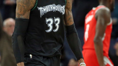 <p>               Minnesota Timberwolves' Robert Covington celebrates one of his baskets against the Houston Rockets in the second half half of an NBA basketball game Monday, Dec. 3, 2018, in Minneapolis. The Timberwolves won 103-91. (AP Photo/Jim Mone)             </p>