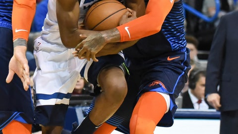 <p>               Oklahoma City Thunder forward Paul George, right, tries to get the ball away from Minnesota Timberwolves guard Andrew Wiggins, left, in the first half of an NBA basketball game in Oklahoma City, Sunday, Dec. 23, 2018. (AP Photo/Kyle Phillips)             </p>
