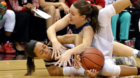 <p>               Tennessee-Martin forward Demi Burdick (33), top, battles Louisville guard Asia Durr (25) for a loose ball during the first half of an NCAA college basketball game, in Louisville, Ky., Tuesday, Dec. 4, 2018. (AP Photo/Timothy D. Easley)             </p>