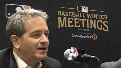 <p>               Tampa Bay Rays principal owner Stuart Sternberg speaks at the baseball winter meetings in Las Vegas, Tuesday, Dec. 11, 2018. (AP Photo/Ron Blum)             </p>