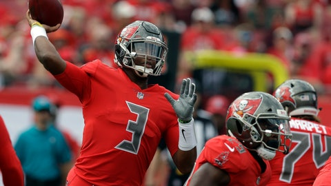 <p>               Tampa Bay Buccaneers quarterback Jameis Winston (3) throws a pass during the first half of an NFL football game against the Carolina Panthers Sunday, Dec. 2, 2018, in Tampa, Fla. (AP Photo/Chris O'Meara)             </p>