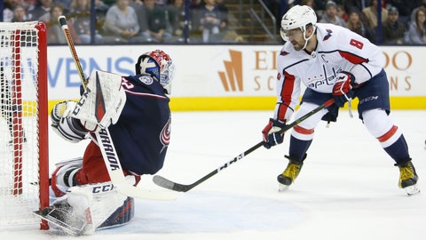 <p>               Washington Capitals' Alex Ovechkin, right, of Russia, scores against Columbus Blue Jackets' Sergei Bobrovsky, of Russia, during the first period of an NHL hockey game, Saturday, Dec. 8, 2018, in Columbus, Ohio. (AP Photo/Jay LaPrete)             </p>