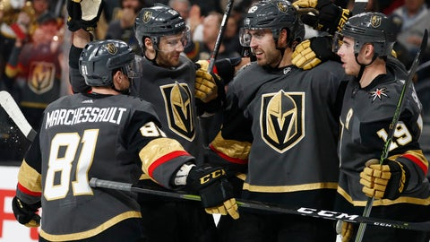 <p>               Vegas Golden Knights celebrate after right wing Alex Tuch, second from right, scored against the Dallas Stars during the second period of an NHL hockey game Sunday, Dec. 9, 2018, in Las Vegas. (AP Photo/John Locher)             </p>