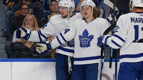 <p>               Toronto Maple Leafs forwards Auston Matthews (34) and Kasperi Kapanen (24) celebrate a goal during the second period of an NHL hockey game against the Buffalo Sabres, Tuesday, Dec. 4, 2018, in Buffalo N.Y. (AP Photo/Jeffrey T. Barnes)             </p>
