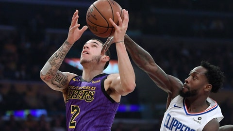 <p>               Los Angeles Lakers guard Lonzo Ball, left, shoots as Los Angeles Clippers guard Patrick Beverley defends during the first half of an NBA basketball game Friday, Dec. 28, 2018, in Los Angeles. (AP Photo/Mark J. Terrill)             </p>