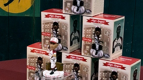 <p>               This Wednesday, Dec. 12, 2018, photo provided by the National Bobblehead Hall of Fame and Museum and Dreams Fulfilled, LLC, shows bobbleheads of former Negro League pitcher Satchel Paige of the Kansas City Monarchs on display at the Negro Leagues Baseball Museum in Kansas City, Mo. Fans of the former Negro League are being asked to help a campaign to create bobbleheads of 30 stars from the league - with a goal of commemorating the league's upcoming centennial. Organizers of the effort, which was unveiled Wednesday, Dec. 12, 2018, have created a team of 30 Negro League stars who would be honored with bobbleheads if the campaign raises enough money. (Jay Caldwell/National Bobblehead Hall of Fame and Museum/Dreams Fulfilled, LLC via AP)             </p>