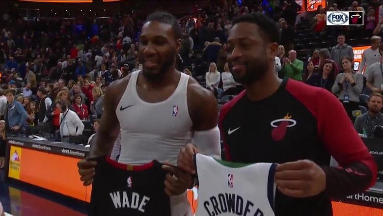 Dwyane Wade, Jae Crowder exchange jerseys after Heat-Jazz game