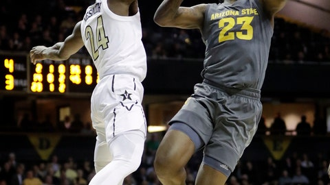 <p>               Vanderbilt's Aaron Nesmith (24) knocks the ball away from Arizona State forward Romello White (23) in the first half of an NCAA college basketball game Monday, Dec. 17, 2018, in Nashville, Tenn. (AP Photo/Mark Humphrey)             </p>