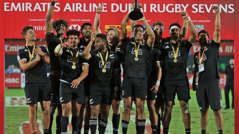 <p>               New Zealand's players celebrate after they beat the U.S. in the final match of the Emirates Airline Rugby Sevens in Dubai, the United Arab Emirates, Saturday, Dec. 1, 2018. (AP Photo/Kamran Jebreili)             </p>
