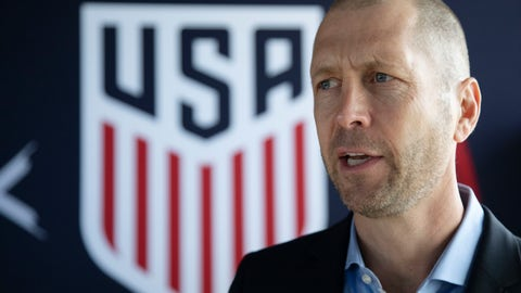 <p>               Gregg Berhalter, the recently-named head coach of the U.S. men's national soccer team, speak at a news conference, Tuesday, Dec. 4, 2018, in New York. (AP Photo/Mark Lennihan)             </p>